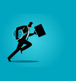 businessman running with briefcase and clock vector image