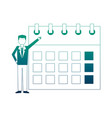 businessman with calendar avatar character vector image