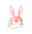 carnival halloween masquerade pink hare mask vector image