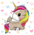 cartoon unicorn with a bird on a hearts background vector image vector image