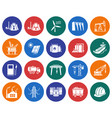collection round icons industries construction vector image