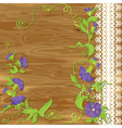 Convolvulus Flowers on wood baskground vector image vector image