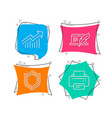 copyright laptop security and demand curve icons vector image