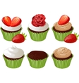 Cupcakes in green cup vector image