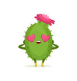 cute cactus in love with heart shape eyes and pink vector image