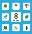 flat icon ecology set of oaken alder evergreen vector image vector image