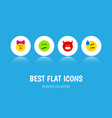 flat icon face set of pouting tears frown and vector image vector image