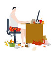 freelancer and dirty work table filthy workplace vector image