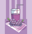 grapes juice cup natural fruit vector image vector image
