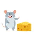 grey mouse and a piece cheese vector image