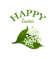 happy easter floral lily bunch icon vector image vector image