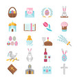 happy easter icon set vector image vector image