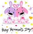 happy valentines day with cute bunnies in love - f vector image