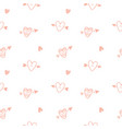 hearts hand drawn repeat seamless pattern vector image vector image