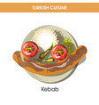 huge kebab with chilli pepper and garnish from vector image vector image