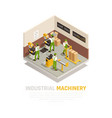 industrial machinery isometric composition vector image vector image