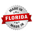 Made in florida silver badge with red ribbon