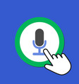 microphone icon audio recording concept hand vector image vector image