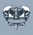 military dirk on a knight cross monochrome tattoo vector image vector image