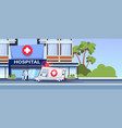 modern hospital building with team of doctors and vector image vector image