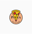 pizza logo with pizza slice on white background vector image vector image