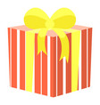 present in box container with ribbon bow vector image vector image