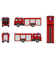 red fire truck mockup vector image vector image