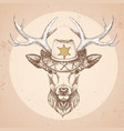 retro hipster animal deer with sheriffs hat vector image vector image