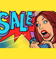 sale shopping season woman screams in phone vector image vector image