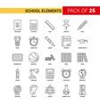 school elements black line icon - 25 business vector image vector image