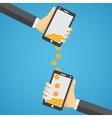 Sending and receiving money wireless vector image