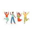 set four happy people jumping and celebrating vector image