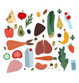 set healthy food such as meal vegetables vector image vector image