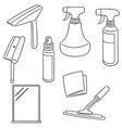 set of glass and mirror cleaner vector image vector image