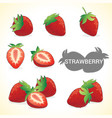 Set of strawberries in various styles vector image vector image