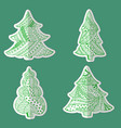 set with patterned christmas tree made as sticker vector image