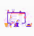 small people around a monitor make a web site vector image vector image