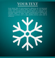 snowflake icon isolated on green background vector image vector image