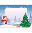 Snowman with a blank placard vector image vector image