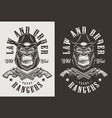 t-shirt print with gorilla concept vector image vector image