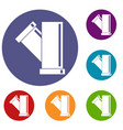 tee fitting pipe icons set vector image vector image