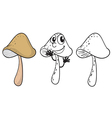 Three mushrooms vector image vector image