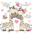 two cute giraffes vector image vector image