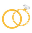 wedding rings flat icon valentines day vector image vector image