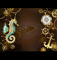 wooden background with mechanical seahorse vector image vector image