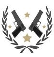 2 pistols and stars in laurel wreath emblem vector image vector image