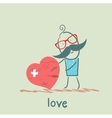 a man stands with a broken heart vector image vector image