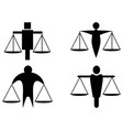 abstract man holding scales justice icon logo vector image
