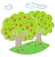 Apple trees vector image