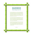 bamboo frame eco spa resort background vector image vector image